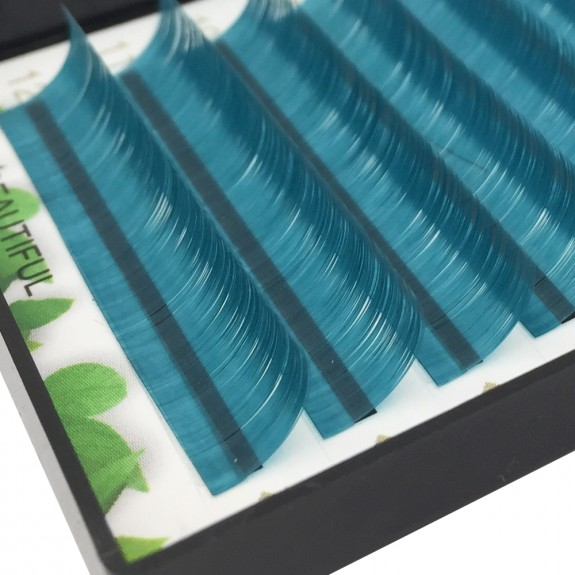 Sea Blue 0.07/0.10/0.15mm Thickness 8-15mm Single Length J/B/C/D Curl Colored Lash Extension