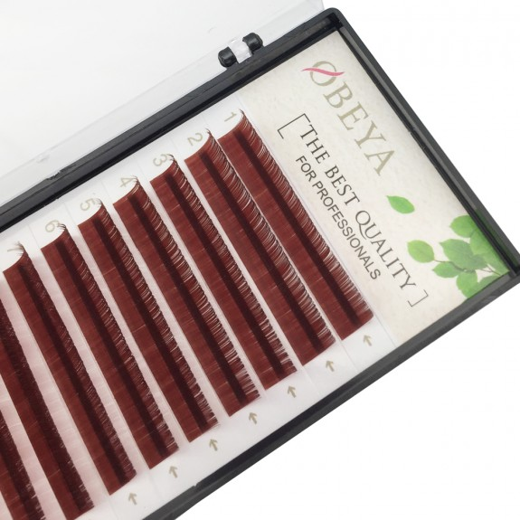 Wine Red 0.07/0.10/0.15mm Thickness 8-15mm Single Length J/B/C/D Curl Colored Lash Extension