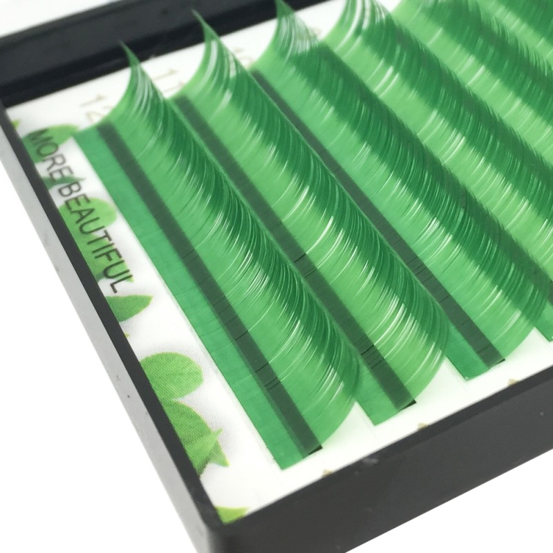 Green 0.07/0.10/0.15mm Thickness 8-15mm Single Length J/B/C/D Curl Colored Lash Extension
