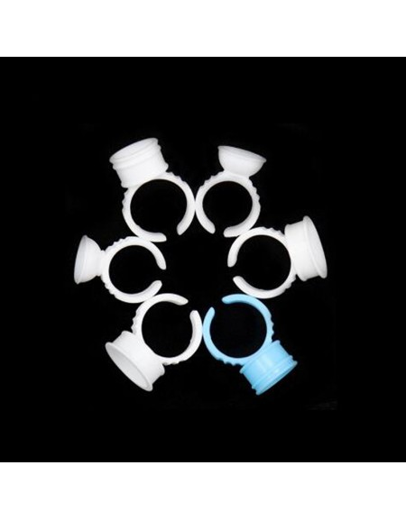 White Lashes ring Attached Individual Eyelash Extension New Design Volume Lashes Speed Fan Making Glue Holder Lashing Tools Ring Grafting Quick Blossom Eyelashes Adhesive Stand (Cup with ring)