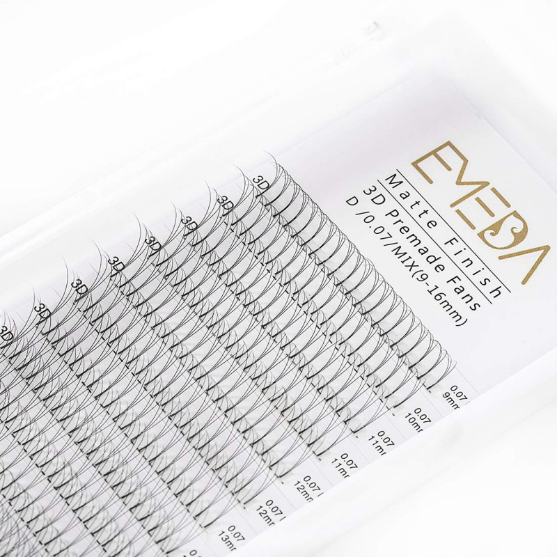 3D C/D Curl 0.10mm Mix Tray 9-16mm or 9-18 Single Length Premade Fans Volume Lash Extensions
