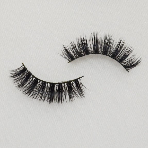 Black Cotton Band 100% Real Mink Fur 3D Strip Lashes G001
