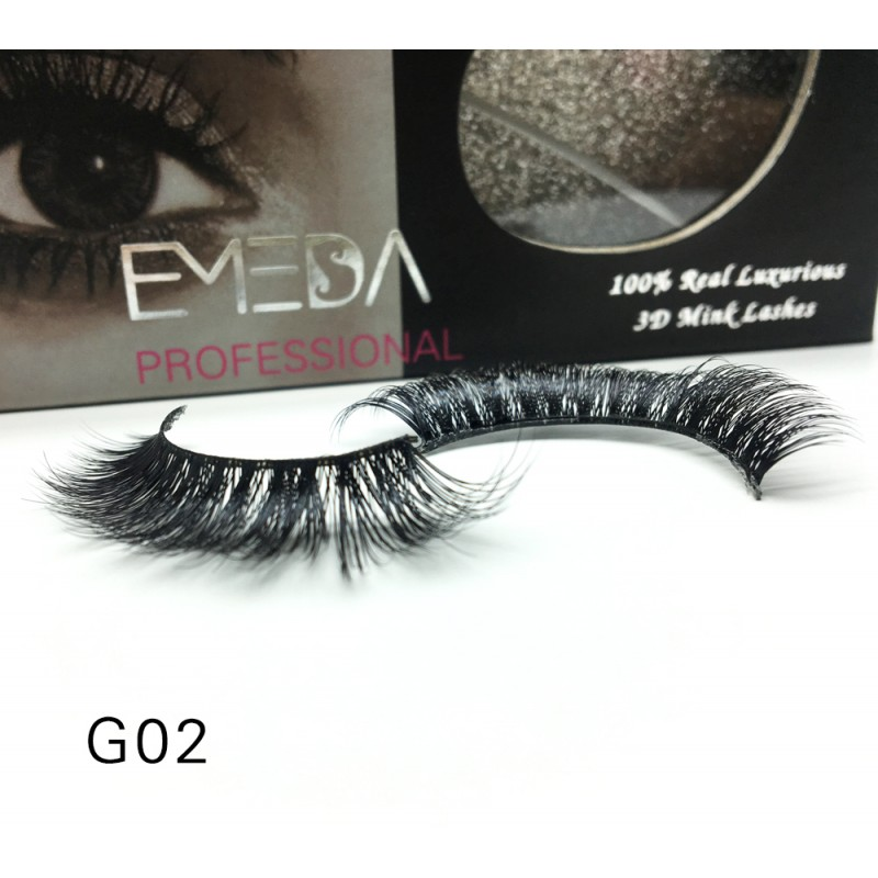 100% Real Mink Fur 3D Strip Lashes G02