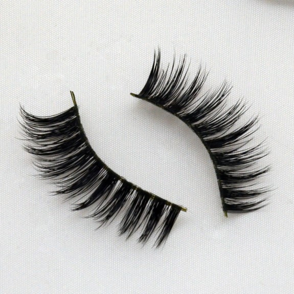 Round Shape 100% Real Mink Fur 3D Strip Lashes G012