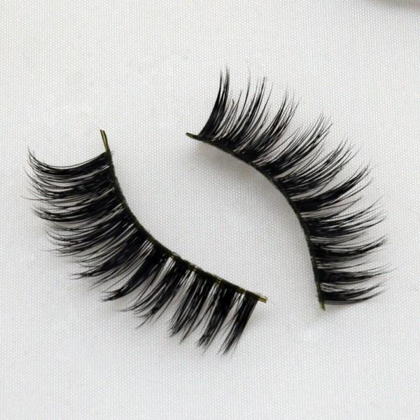 Round Shape 100% Real Mink Fur 3D Strip Lashes G012
