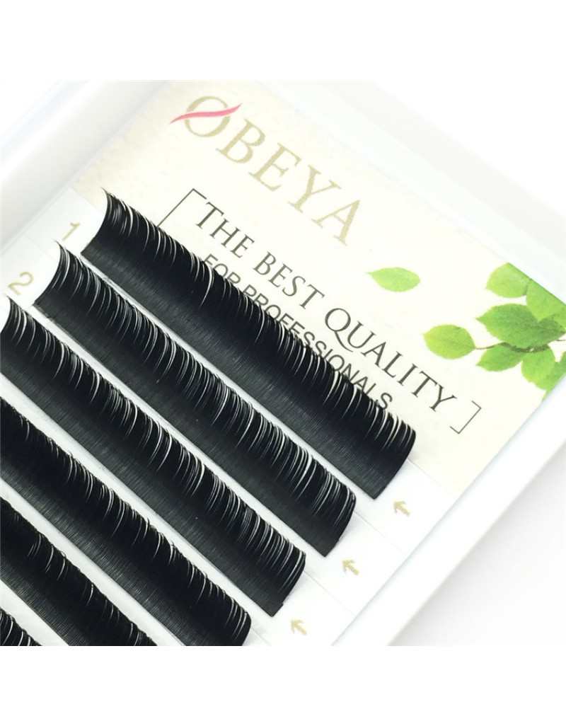 Black Ellipse Flat Eyelash Extensions D Curl 0.12mm  Tray 8-16mm Individual Semipermanent Lash Extensions Wholesale eyelash vendors