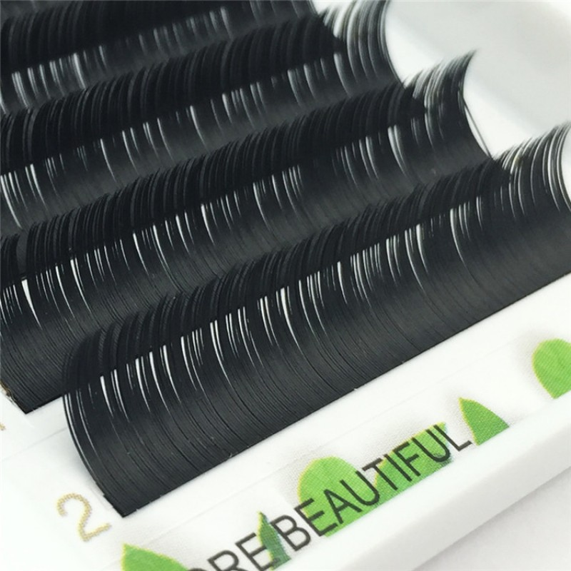 Diamond grade ellipse flat lash denser little gray  D Curl 0.10 mm 6-18mm Individual Lash Extensions 12 rows Wholesale Eyelash Vendors