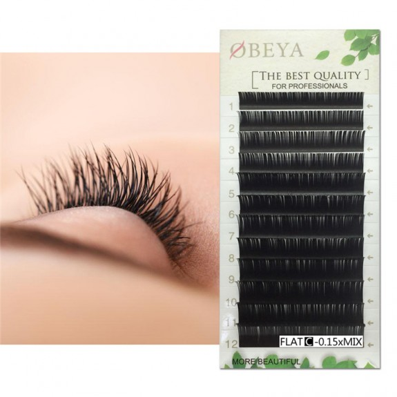 BIG SALE 0.07mm B Curl 8-15mm Mix Length Individual Eyelash Extension Green Leaf Papercard