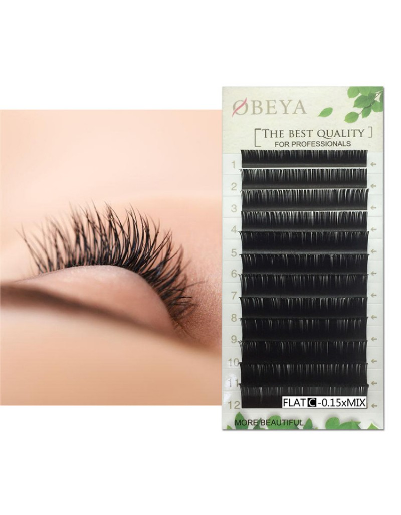 Flat Eyelash Extensions 0.15mm C Curl 8-15mm Mixed Flat Eyelash Extension supplies Light Lashes Matte Individual Eyelashes Salon Use Black Lashes Extensions(C-0.15-MIX)  Wholesale  vendors