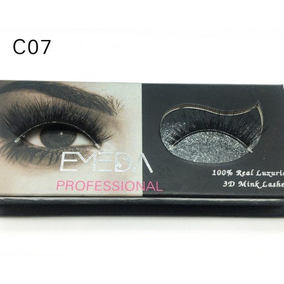 3D Mink Crown Grade 100% Siberian Fur Fake Eyelashes C07