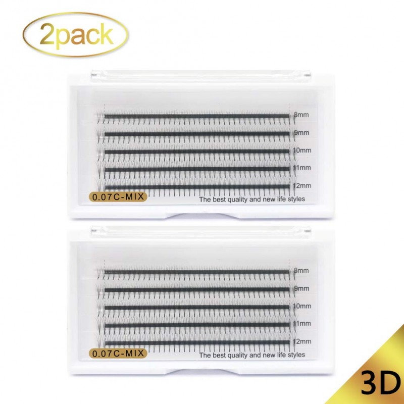 2 Trays 0.07mm C curl 8-12mm Mix Length Cluster Eyelashes Extension