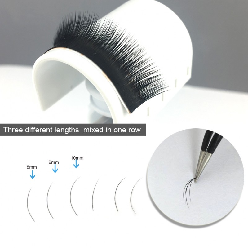 C 0.07mm/0.10mm/0.15mm Mixed Length in One Lash Strip (10-11-12mm) Camellia Pandora Eyelash Extensions
