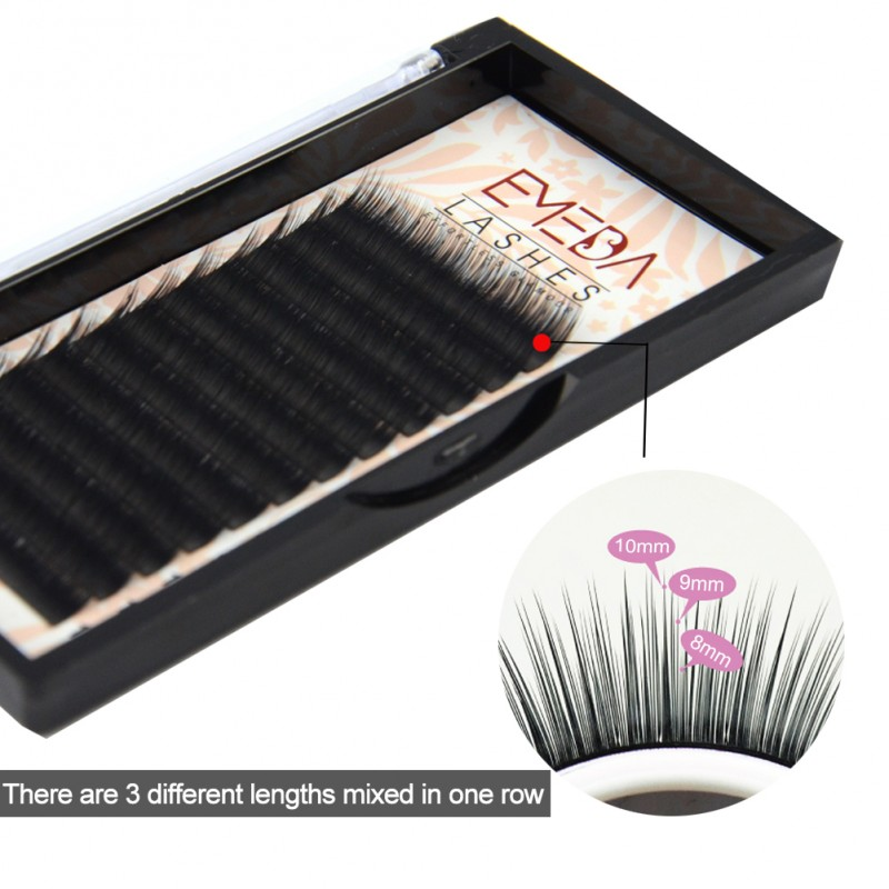 EMEDA Camellia Eyelash Pandora C 0.07  Eyelash Extensions Mixed Length in One Lash Strip Fancy Packing Lash Box(8-9-10mm)