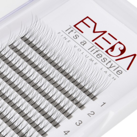 EMEDA C D Curl  0.07 0.10 Thickness 8-14mm Mix Length and 8-14mm Single Length 3D Premade Fans Eyelash Extension 1Tray/Set