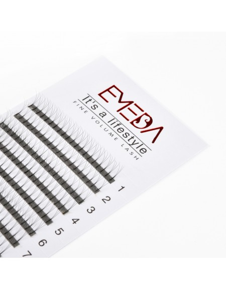 EMEDA 3D C Curl 0.07mm 0.1mm 0.15mm Thickness 8-14mm Single Length and 8-14mm Mix Length Premade Fans Eyelash Extension