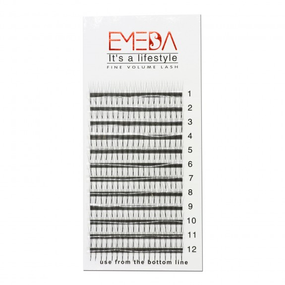 EMEDA 3D Volume Eyelashes Extensions Russian Cluster Individual Eyelashes Professional Volume C Curl Lash Extensions 0.07 Thickness