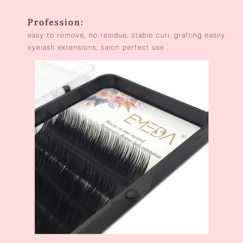 Wholesale  0.07 C curl 6 Rows 8-12mm Mixed Length or 8mm 9mm 10mm 11mm 12mm Single Length  Automatic Blooming Flower Eyelash Extension by Emeda