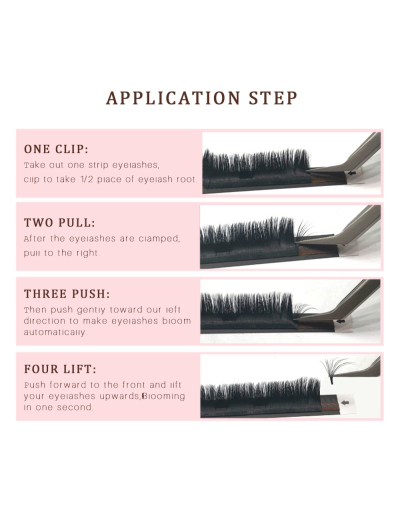 Volume Blooming eyelash extension 0.07 C curl Mix length in a tray Self making fan flowering Lash Extension
