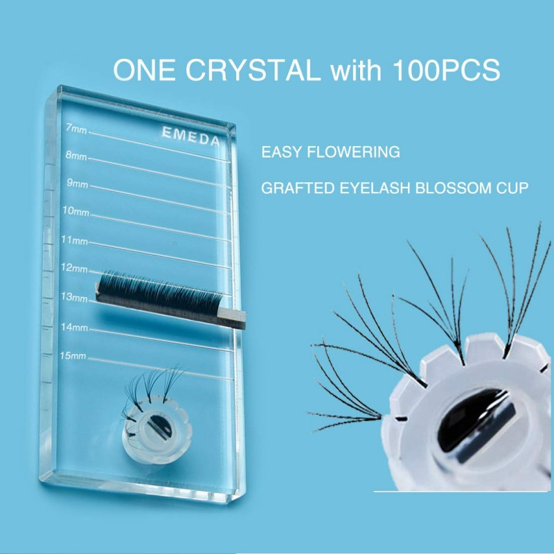 Crystal Eyelash Extension Tiles Palett Holder with 100 PCS Blooming Glue Cup