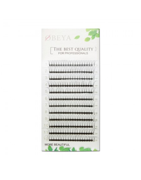 0.07mm Thickness C Curl 8-14mm Mix Length 3D Premade Fans Eyelash Extensions Based Stick Short Stem