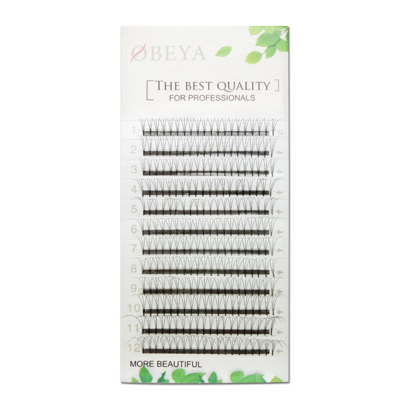 0.10mm Thickness D Curl 14mm Single Length 3D Premade Fans Eyelash Extensions Based Stick Short Stem
