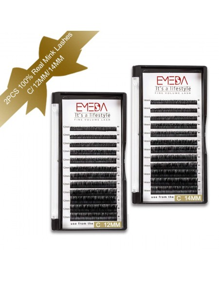 2 Packs C Curl 12mm+14mm 100% Real Mink Individual Eyelash Extensions