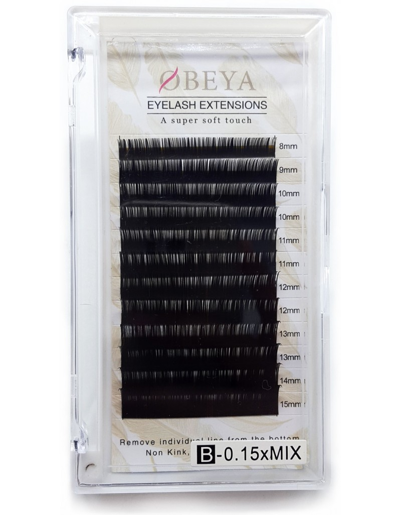 Wholesale mixed B-Curl Black Synthetic Eyelash Extension Tray by Infinit 0.15mm or 0.20mm X 8mm~15mm