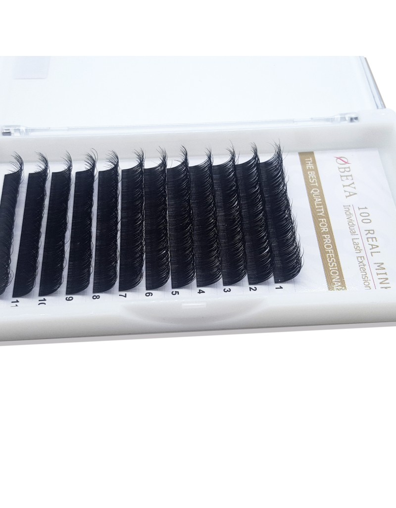 Mixed B-Curl Black Synthetic Eyelash Extension Tray by Infinit | 16 Rows - Thickness: 0.15mm or 0.20mm X Lengths: 8mm~15mm | For Individual Lash Extensions (0.15) wholesale vendors