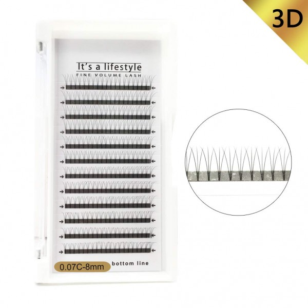 3D/5D/6D 0.07mm C Curl 8-14mm Single Length Premade Fans Volume Eyelash Extension
